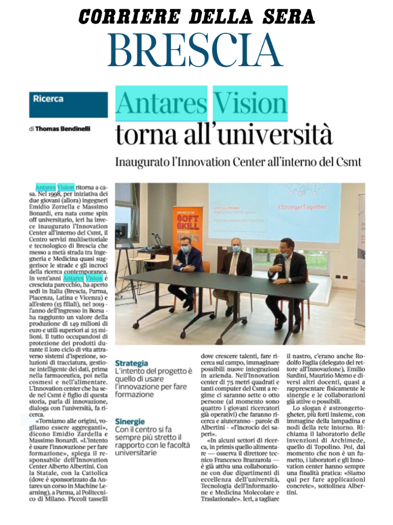 Antares Vision per la formazione: inaugurato Innovation Center
