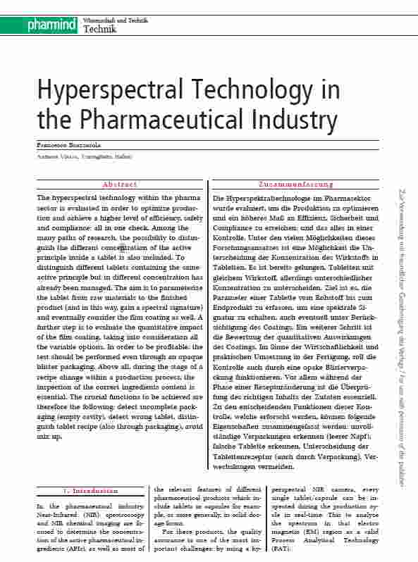 Pharmind - Hyperspectral Technology in the Pharmaceutical Industry